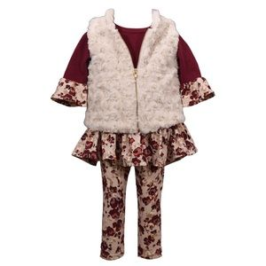 Girls Fall Winter Burgundy 3 Pieces Vest Set New
